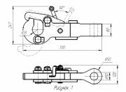 Гак откидной полуавтоматический под трос 24-28 мм, усилие до 40 кН